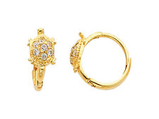 14K Real Yellow Gold Turtle CZ Small Huggies Earrings for Baby and Children