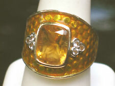 OMAR TORRES  GENUINE CITRINE & GOLD ENAMEL  STERLING  RING  IN A LUCKY  SIZE 7