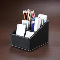 Leather Phone TV Remote Control Storage Box Home Desk Office Organizer Holder