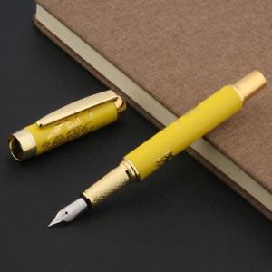 Jinhao 955 Fountain Pen, Medium Nib, Ceramic Porcelain Yellow Dragon