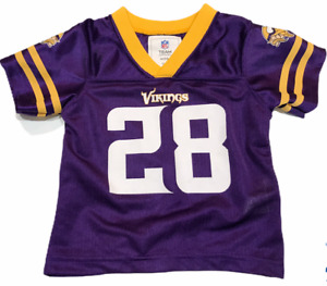 NWT Vikings NFL Football #28 Peterson Jersey Size 12 Months Purple Gold