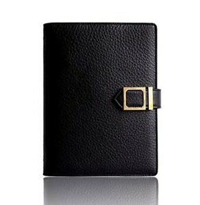 New leather agenda planner blk w/snap closure weekly monthly perpetual calendar