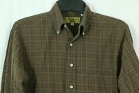 Men's Paul Stewart M Wool Cotton Blend Plaid Flannel Shirt Brown Checks Button