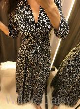 ZARA NEW BLACK WHITE PRINT SHIRT DRESS LEOPARD LONG BELT MAXI SIZE XS PlsRead
