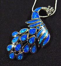 """Brilliant Blue Fire Opal LARGE 2 1/4"""" PEACOCK Silver 925 Filled Pendant & Chain"""