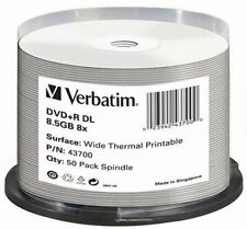Verbatim DVD+R 8.5GB 8x Speed Dual Layer Wide Thermal Printable DVD Disc Pack 50