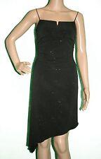 City Triangles Black Sparkle Asymmetrical Hem Stretch Spaghetti Strap Dress