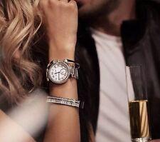 NWT MICHAEL KORS Silver Skylar Crystal Glitz 42mm Quartz Watch MK5866 $250