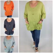Hip Length Scoop Neck Tops & Shirts for Women with Pockets