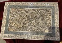 """Vintage Chinese Carved Cow Bone 2 Dragon Box. 12x8x6"""" Scenes all sides."""