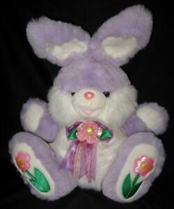 """Dan Dee HOPPY HOPSTER Purple Easter Bunny Rabbit w/ Flowers 24"""" Adorable!"""