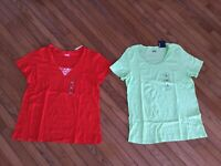 NWT Basic Editions Lot of 2 Women's Top Blouse Tee T-shirt Henley V Neck Size XL