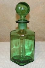 Vintage Green Glass Globe Decanter,  Made in Italy - Beautiful!