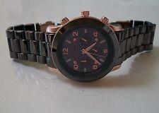 Rose Gold/Black Hematite finish designer inspire style fashion Geneva link watch