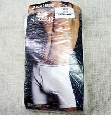NOS Vintage STAFFORD Mens Boxer Briefs NEW Old Stock White L Open 3-Pack