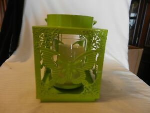 Square Green Metal Hanging Pillar Candle Holder Lantern Style Butterfly Design