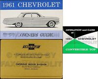 1961 Chevy Impala Convertible Owners Manual Set Owner Guide Top Book Envelope
