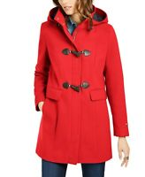 Tommy Hilfiger Womens Hooded Toggle Coat XXL Red Wool Blend