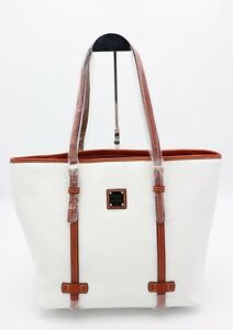 NWT Dooney & Bourke White Pebble Grain Leather East West Shopper Tote Bag New
