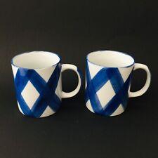 SET (2)Trisa Handpainted Stoneware Coffe Tea Mugs Cups Blue White 1993 Paloma