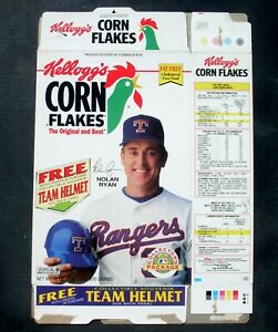 Kellogg's Corn Flakes Flattened Cereal Box 1994 Nolan Ryan
