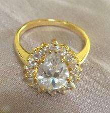 14k ct Yellow Gold Filled Luxury Ring with Zircon Stone - Size 9