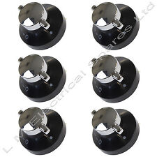6 X Stoves Oven Gas Control Knobs Hob Cooker Flame Switch Chrome Black Silver