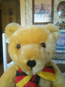 Hermann Teddy Original Ltd. Ed Mohair Teddy Bear 1990 Unity Day Germany 16in EUC
