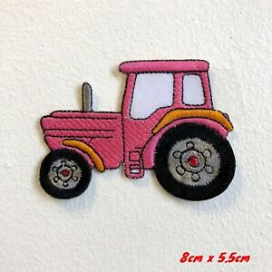 Farming Tractor Cute Pink Embroidered Iron Sew on Patch #1779P