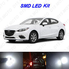 9 x White LED interior Bulbs + License Plate Lights for 2004-2016 Mazda 3