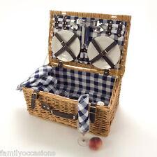 Picnic Hamper Basket 4 Person Blue & White By LaRoca Wicker Picnic Hamper Basket