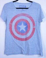Official Marvel Captain America Shield -Women's Large Light Blue T-Shirt
