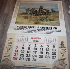 "1990  ROSCOE STEEL  Wall Calendar 19 1/2"" x 27 3/4"" Charles M. Russell"