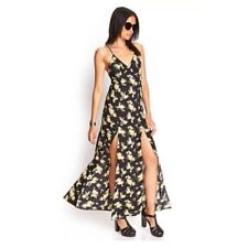 Forever 21 Black & Yellow Floral Maxi Dress, Size Medium