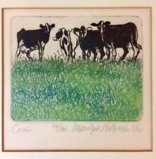 """CHARMING ORIGINAL LIMITED EDITION MARILYN PETERSEN ETCHING ~ """"COWS"""" ~ No. 18/30"""