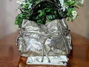 COACH KRISTIN Python Metallic 14770 Exotic Leather Embossed Hobo Shoulder Bag