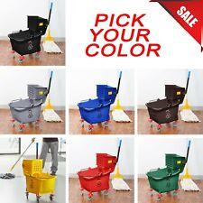 PICK COLOR 35 Quart Commercial Wet Mop Bucket & Wringer Combo Janitorial Hotel