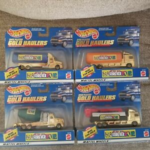 NEW Hot Wheels 24K Plated Gold Haulers lot TOYS R US 50th Exclusive semi truck