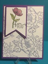 "Card Kit Set Of 4 Stampin Up Birthday Blossoms ""For You"" Purple Banner"
