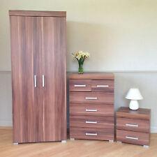 Bedroom Furniture Set *Walnut Effect* Wardrobe 4+2 Drawer Chest Bedside Cabinet