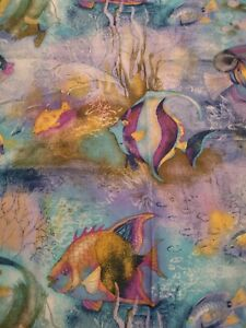 VTG? SHOWER CURTAIN OCEAN FISH TROPICAL BEACH BLUE GREEN PURPLE UNDERWATER SEA