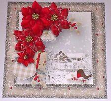 Handmade Greeting Card 3D Christmas With A Snowy Christmas Scene W/Sentiment