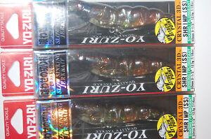 "3 lures yo zuri shrimp crystal 3d jerkbait f988-srf 3 1/2"" 7/16oz smoke red flak"