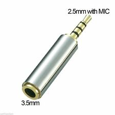 2.5 mm to 3.5 mm Adapter Audio Aux Male to Female with MIC Stereo Headphone