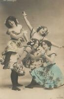 VINTAGE Hand Coloured REAL PHOTO GLITTER Detailing THE MADCAPS POSTCARD - UNUSED
