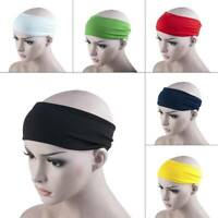 PLAIN HEADBAND Elastic Stretch Sports Yoga Hair Band Unisex 6cm Wide Head Wrap