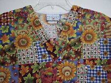 Peaches Small Fall Harvest Sunflowers Leaves Bear Gingham Scrub Top 2 Pockets