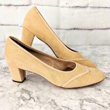 Pair of Vintage Mijji Nordstrom Tan Beige Suede Tuxedo Style Pump Heels (size 8)