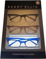 Perry Ellis  Mens 3 Pack Plastic Square Reading Glass, Blk, Demi, Blu 1.5 PEB 27
