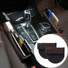 Black Leather Catch Box Car SUV Seat Gap Slit Pocket Storage Case Organizer Bag